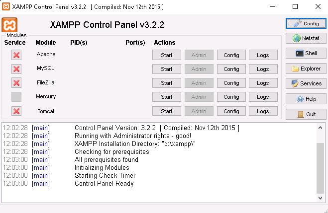 XAMPP recién instalado