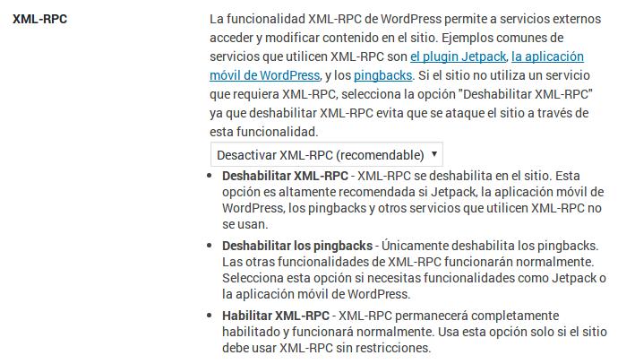 Deshabilitar XML-RPC