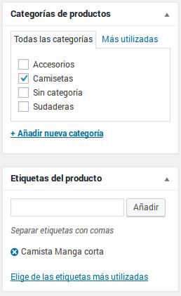 Categorías y etiquetas del producto