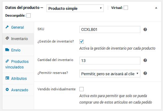 Datos del producto - Producto simple - Inventario