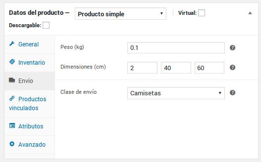 Datos del producto - Producto simple - Envío