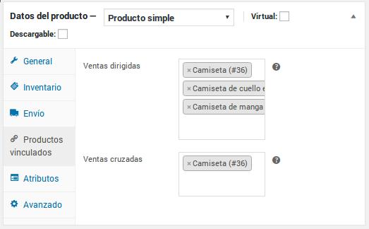 Datos del producto - Producto simple - Productos vinculados