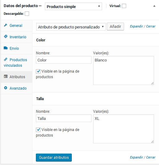Datos del producto - Producto simple - Atributos