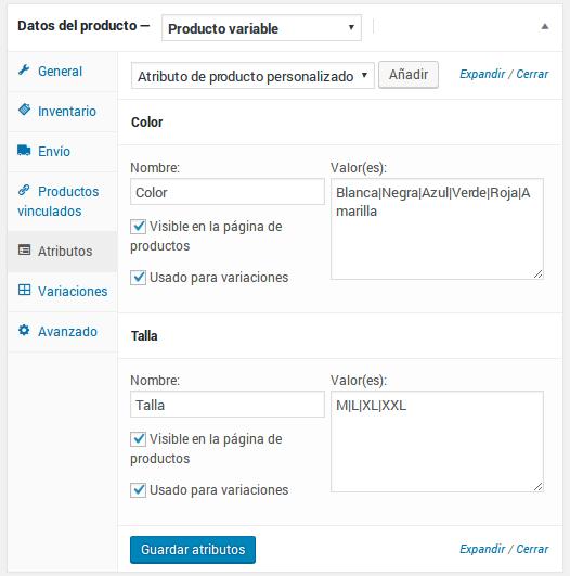 Datos del producto - Producto variable - Atributos