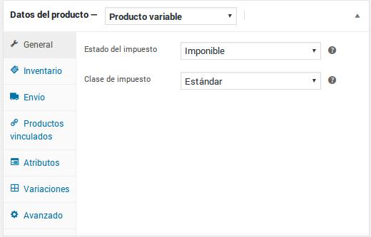 Datos del producto - Producto variable - General