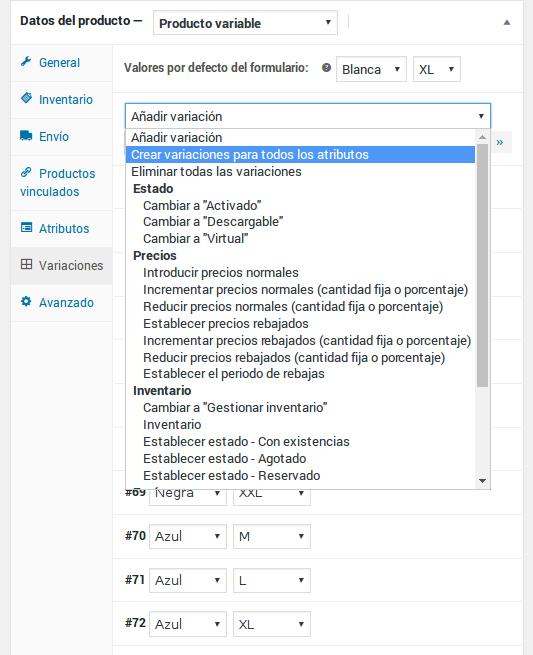 Datos del producto - Producto variable - Variaciones - Lista de acciones