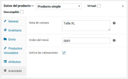 Datos del producto - Producto simple - Avanzado