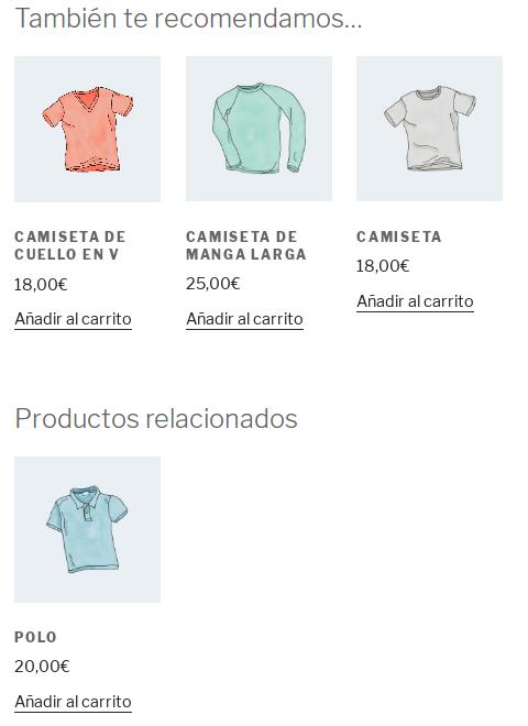 Tienda - Página del producto - Producto simple - Productos relacionados