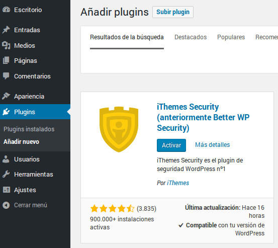 Instalar y activar ithemes security
