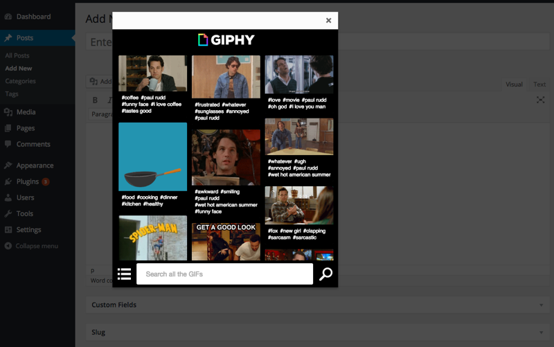 Giphypress plugin GIFs en WordPress
