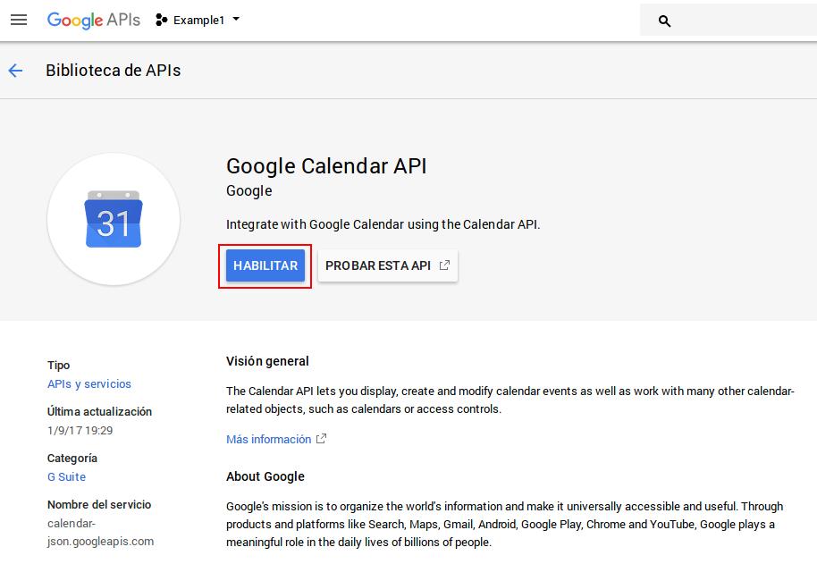 Habilitar Google Calendar