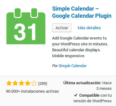Simple Calendar - Google Calendar Plugin