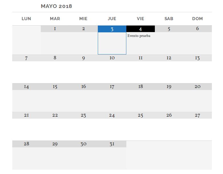 Calendario insertado en post