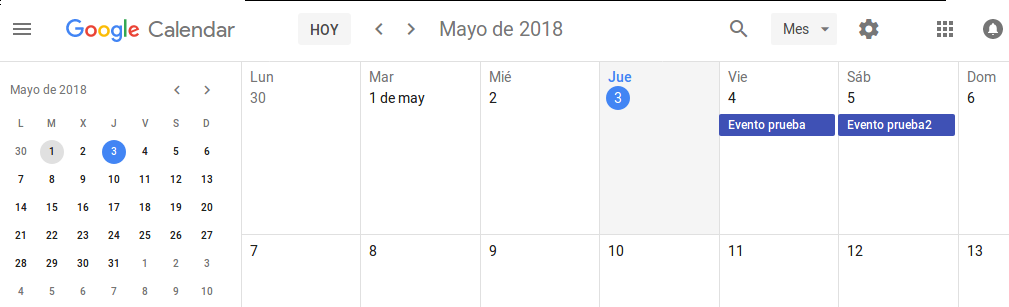 Añadido nuevo evento en Google Calendar