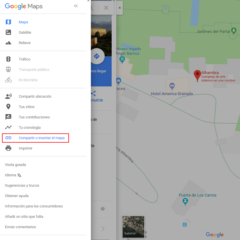 Google Maps - Menu