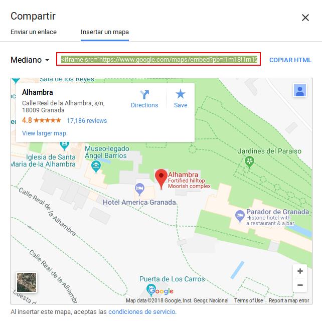 Google Maps - Insertar un mapa