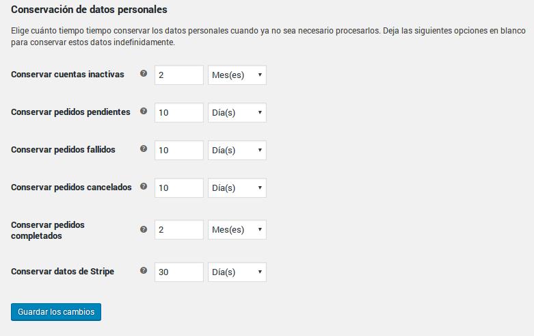 Conservación de datos personales