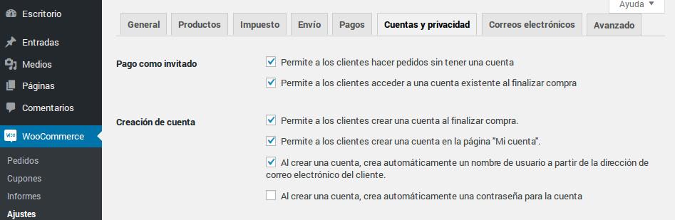 Opciones de cuentas y privacidad