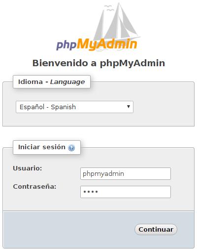 phpMyAdmin login