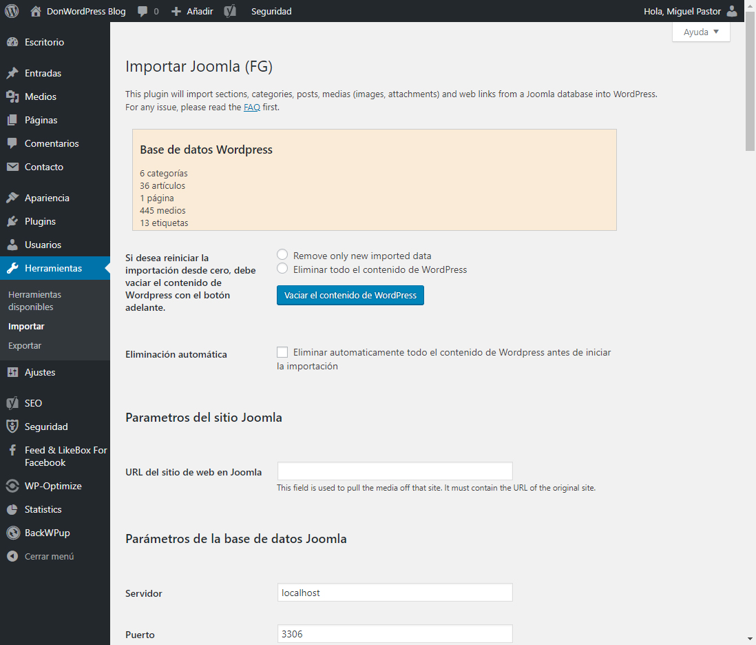 Configuración del Plugin FG Joomla to WordPress