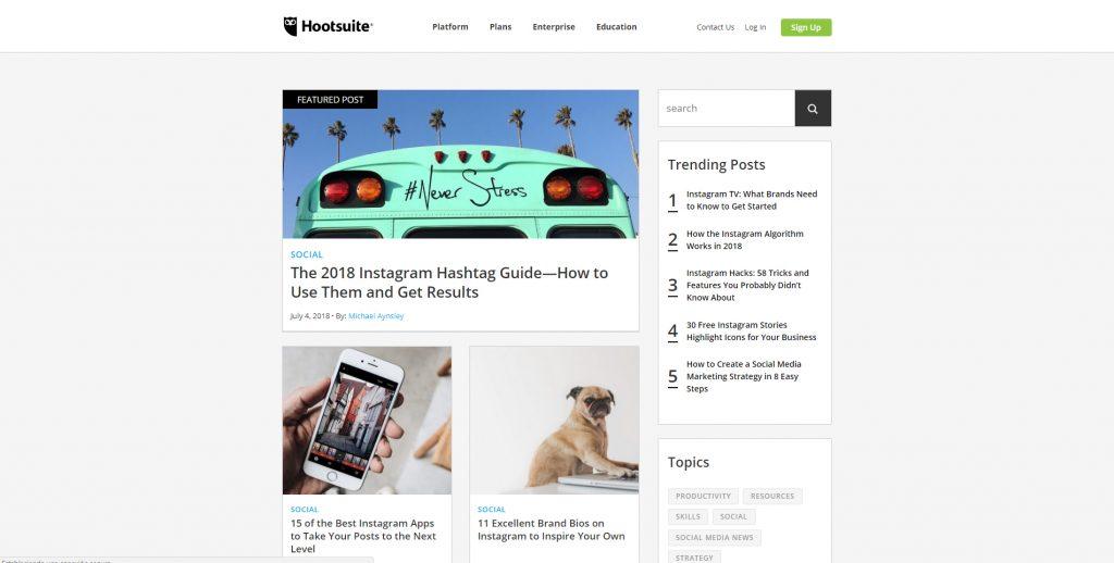 Diseño Web con WordPress Plataforma Hootsuite Blog