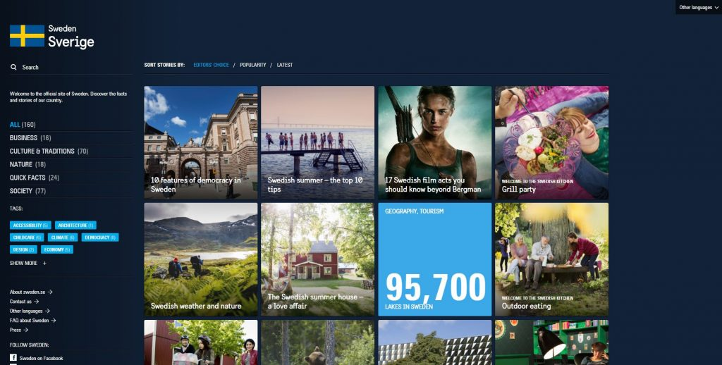 Diseño Web con WordPress Página Oficial Suecia