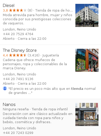 Tiendas en Google