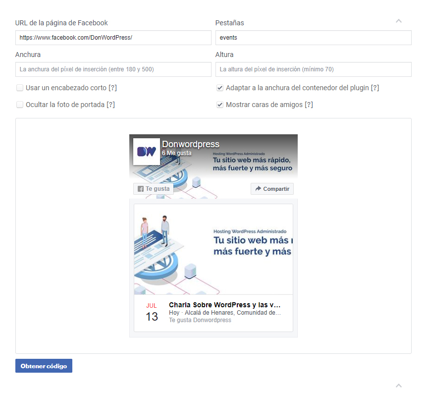 Eventos de Facebook Plugin