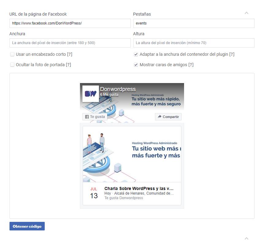Eventos de Facebook Plugin