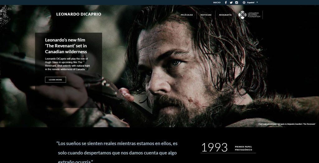 Diseño Web con WordPress web Oficial Leonado DiCaprio