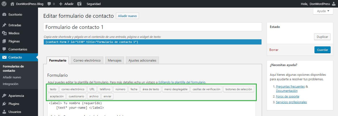 Opciones de campos para un Formulario de contacto en WordPress
