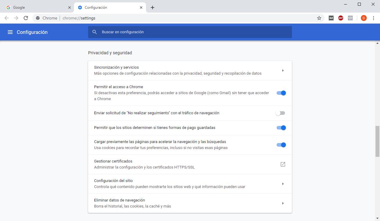 Opciones para eliminar todas las Cookies en Chrome